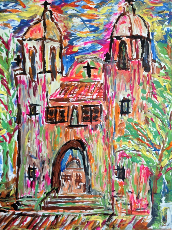 """Sacred Heart Church"" Painting with cardboard, by Ronald Raab, CSC"