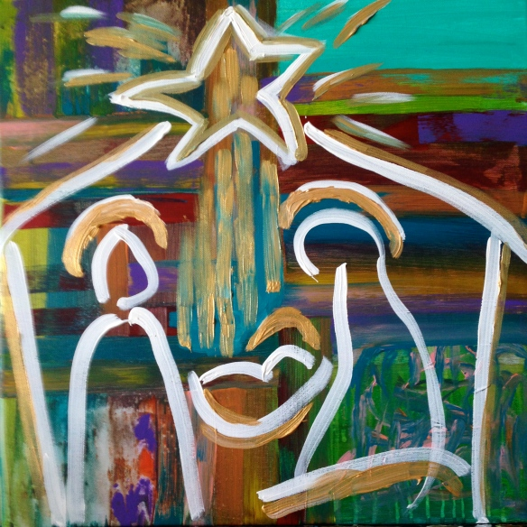 """Nativity and Cross"" Painting: Ronald Raab, CSC 2015"